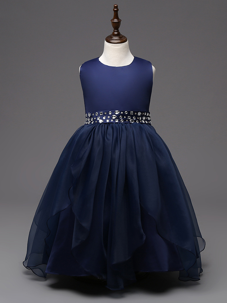 fashion new arrival hot pink white red navy blue crystal glilz dresses for 12 year olds