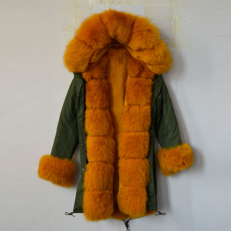 New fashion arrival 2016 yellow color jacket army green faux fur jacket yellow cuff and fox fur collar parka