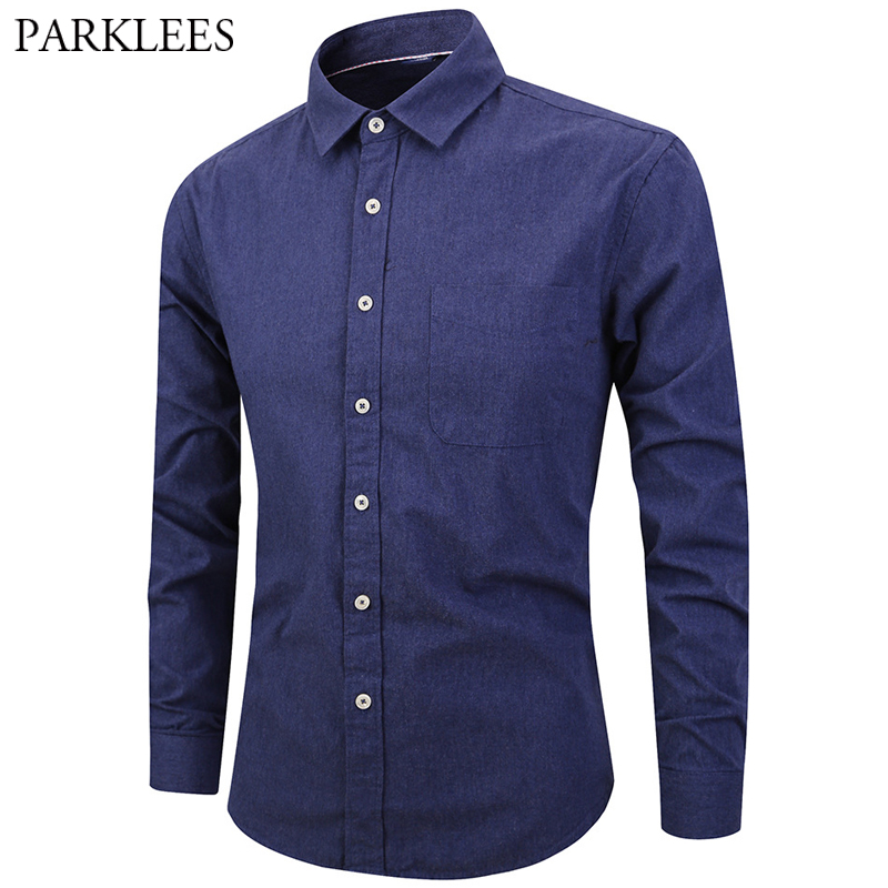 2019 Brushed Cotton Shirt Men Casual Long Sleeve Mens Navy Blue Dress Shirts With Pocket Solid Color Fitness 100% Cotton Blouses