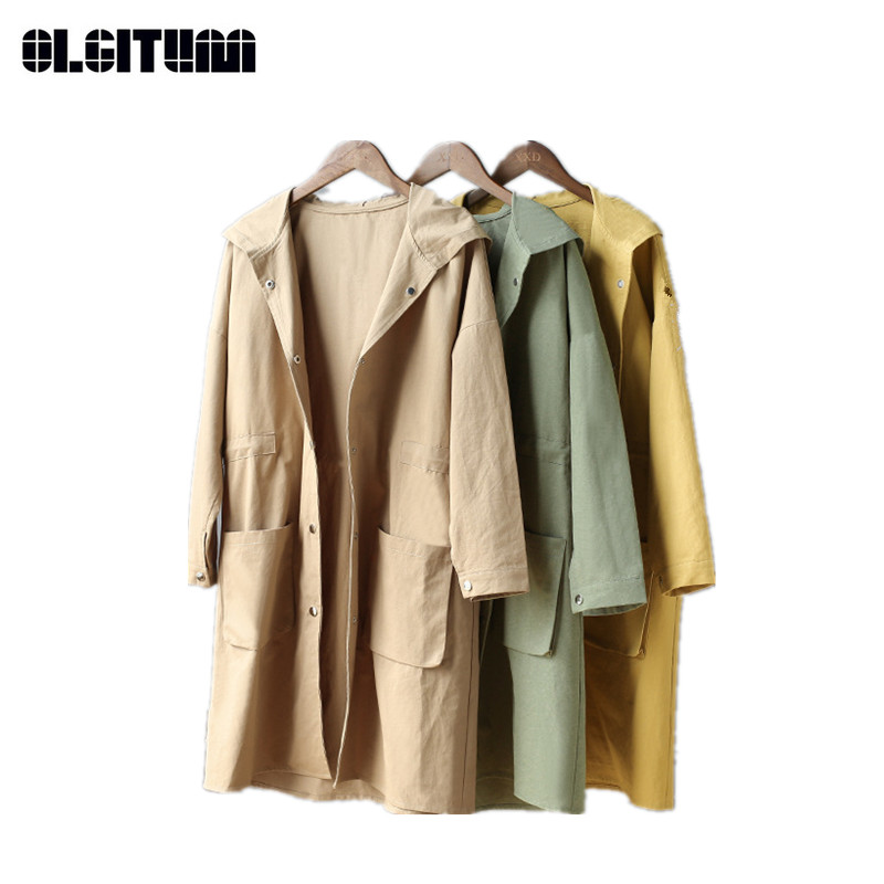 Thin Women's   Trench   Autumn Long Loose Windbreaker New Solid Female Outwear   Trench   Coat Casual Lady   Trench   TR101
