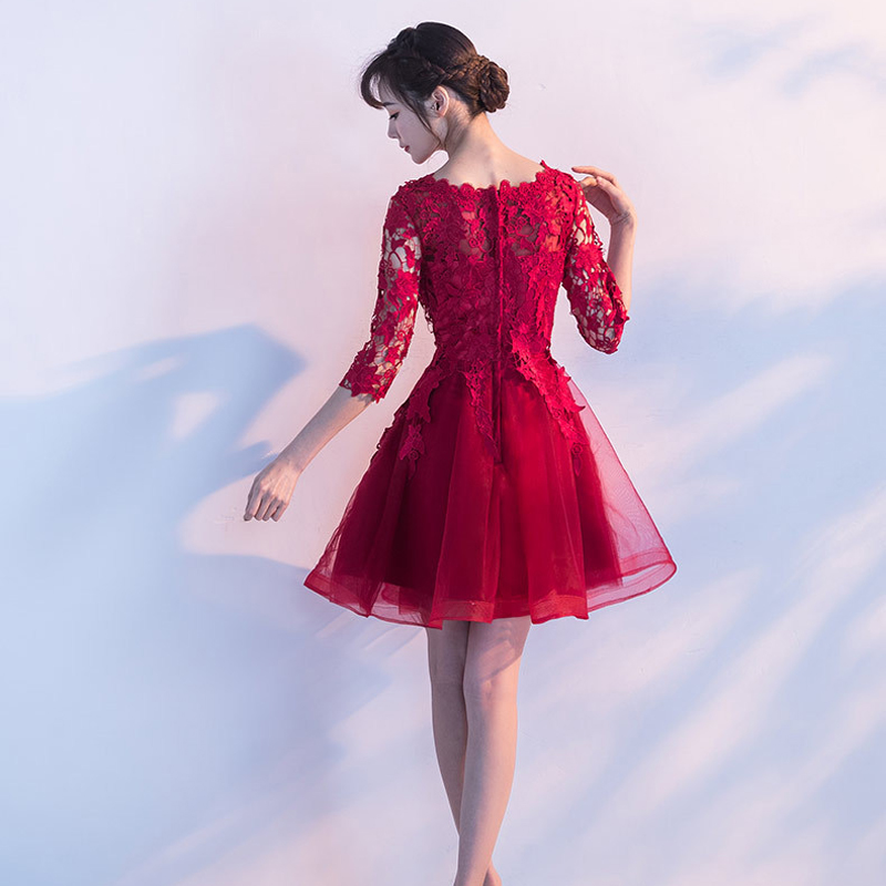 JaneyGao Short Prom Dresses 2019 Women Elegant Formal Evening Gown Wine Red Lace  Special Occasion Party Dresses Robe De Soiree