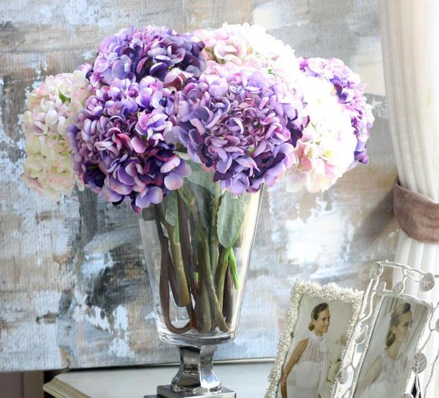 6pcs High End Hydrangea Artificial Flower European Fake Decoration Room Embroidered Ball Vase
