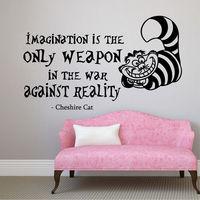 Cheshire Cat Wall Decals Quote Sticker Vinyl Alice In Wonderland Nursery