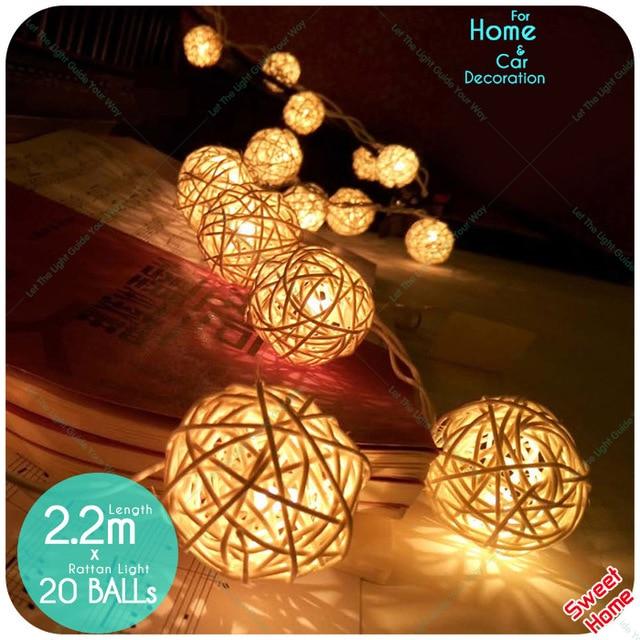 52de55b2141 20 LED Rattan bola de luz de la cadena Navidad Decoraciones Para El Hogar  Año Nuevo