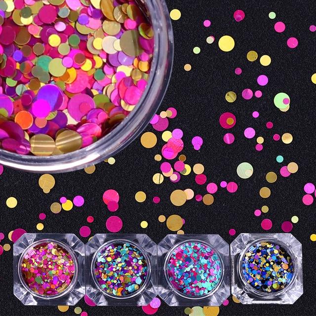 1 kutu 2g Tırnak Sanat Yuvarlak Şekiller Konfeti Payetler Renkli Glitter 1mm 2mm 3mm Tırnak Madeni Pul flakies 8 Renkler Mevcut