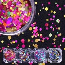 1Box 2g Nail Art okrągłe kształty konfetti cekiny kolorowe brokat 1mm 2mm 3mm paznokci Paillette Flakies 8 kolory dostępne
