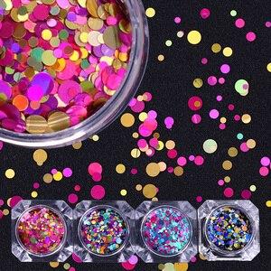 Image 1 - 1Box 2g Nail Art okrągłe kształty konfetti cekiny kolorowe brokat 1mm 2mm 3mm paznokci Paillette Flakies 8 kolory dostępne