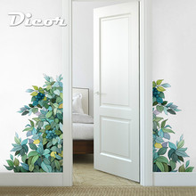 DICOR 2019 New Forest Style Green Leaf Corner Decor Sticker Creative Eye Fresh Green Bedroom Decorative Wall Sticker QT749 magic forest style 13 pieces stair sticker wall decor