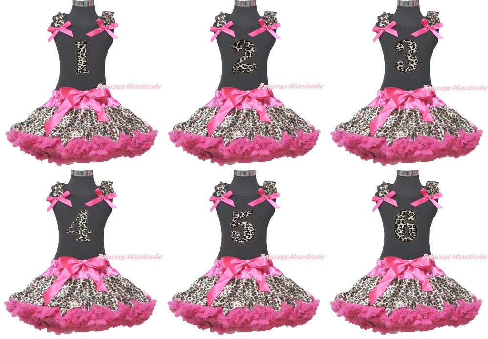ФОТО Baby Girl Birthday 1ST 2ND 3RD 4TH 5Th 6TH Black Top Hot Pink Leopard Skirt 1-8Y MAMG153