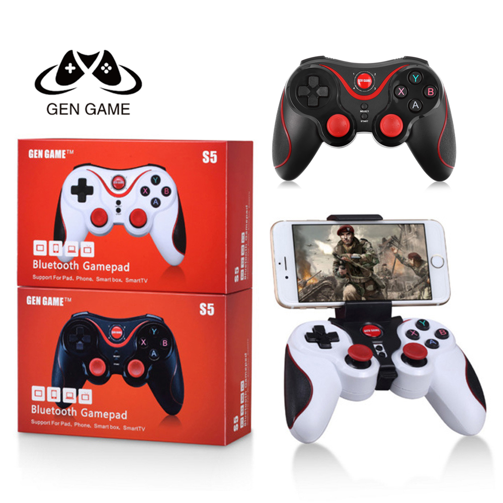 Gen Game S5 Wireless Bluetooth Gamepad Bluetooth 3.0 Joystick Game Controller for Android Smartphone Tablet PC with Holder