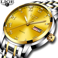 Men S Watch Top Brand LIGE Luxury All Steel Men S Dual Calendar Business Fashion Quartz