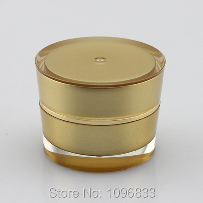 50pcs/Lot, 5G Acrylic Jar Cone Shape Gold color, Empty Cream Container, Cosmetic Sample Packing Bottle High Quality