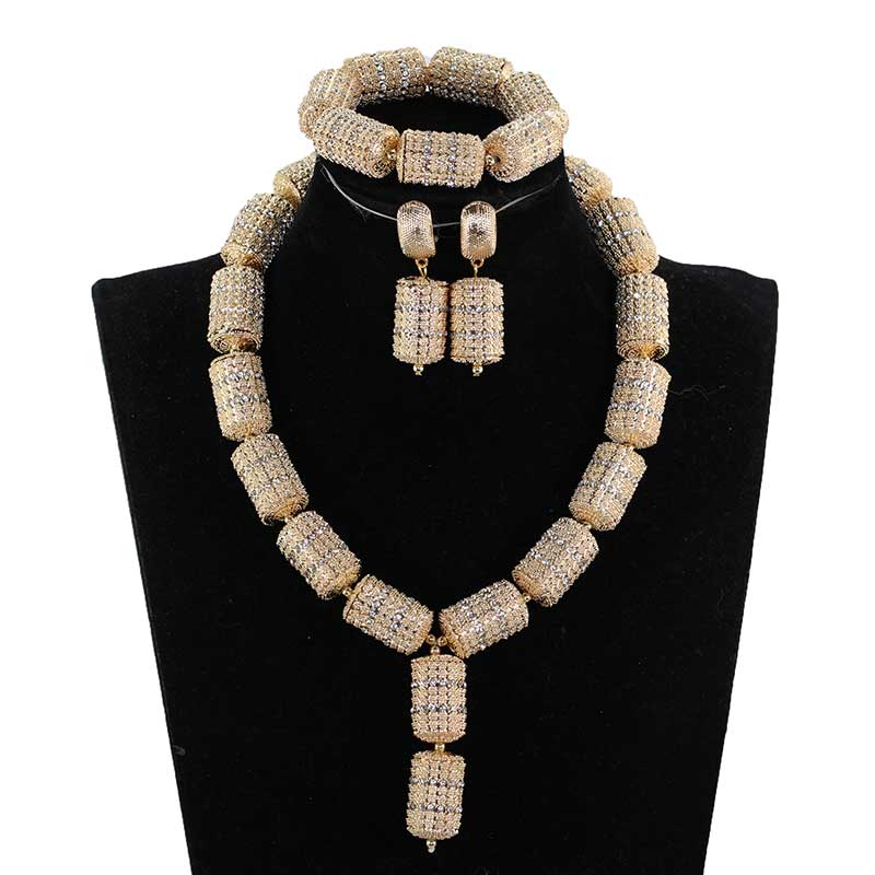 African Beads Jewelry Set for Women Fashion Silver/Gold Jewelry Accessory Nigerian Wedding Beads Set Necklace Set 2018 QW1194African Beads Jewelry Set for Women Fashion Silver/Gold Jewelry Accessory Nigerian Wedding Beads Set Necklace Set 2018 QW1194