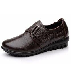 Femmes appartements mère chaussures confortables mocassins en cuir véritable femmes chaussures décontractées femmes mocassins grande taille 35-41