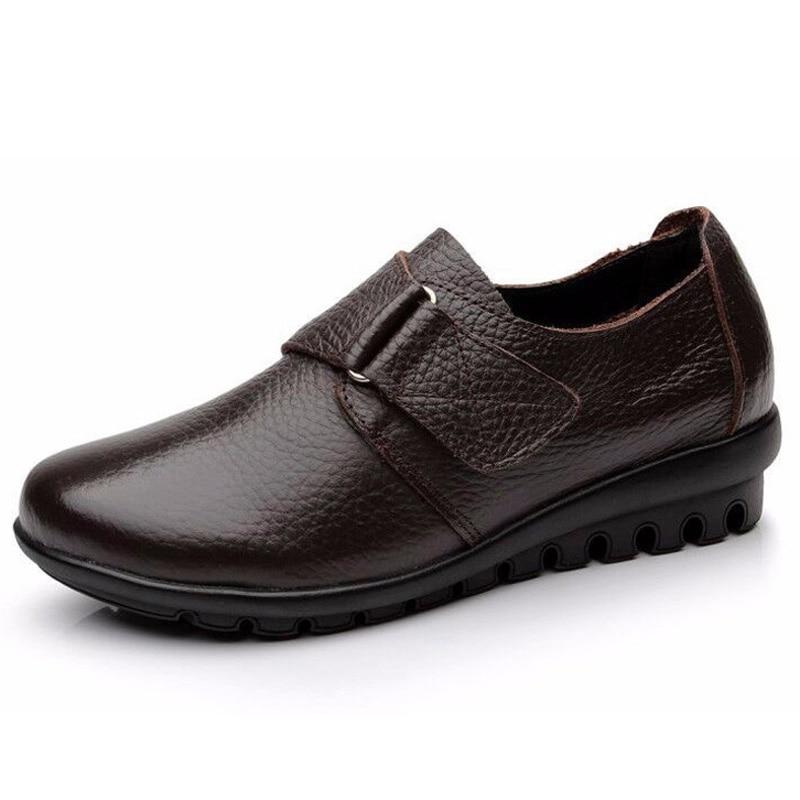 Kvinder Lejligheder Modersko Komfortable ægte læder loafers kvinder afslappet sko kvinder mokasiner stor størrelse 35 - 41