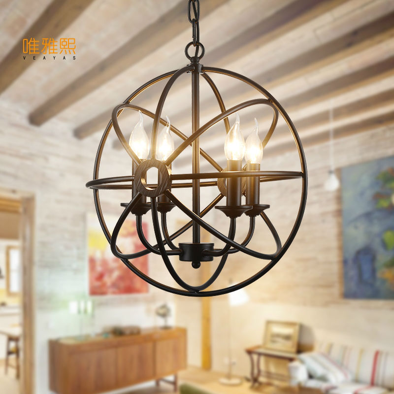 Veayas Vintage LED Iron pendant lights fixture Hanging lamp with E14 110v 220v for Dinning Room living room bedroom