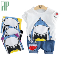 Toddler Boy Summer Clothes Set Cotton Children Baby Shark Clothes Dinosaur Print Kids Girls Boutique Outfits Suit 1 3 Years недорого