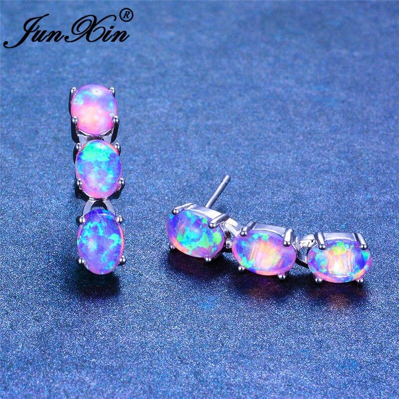 JUNXIN Luxury Oval Stone Blue White Fire Opal Earrings For Women Silver Color Green Purple Bar Stud Earrings Wedding Jewelry
