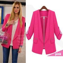 Plus Size 2016  Autumn Fashion Women Long Blazer Slim Jacket Ladies Suit Coat Blazer Feminino Black Pink Women Blaser XL T5261