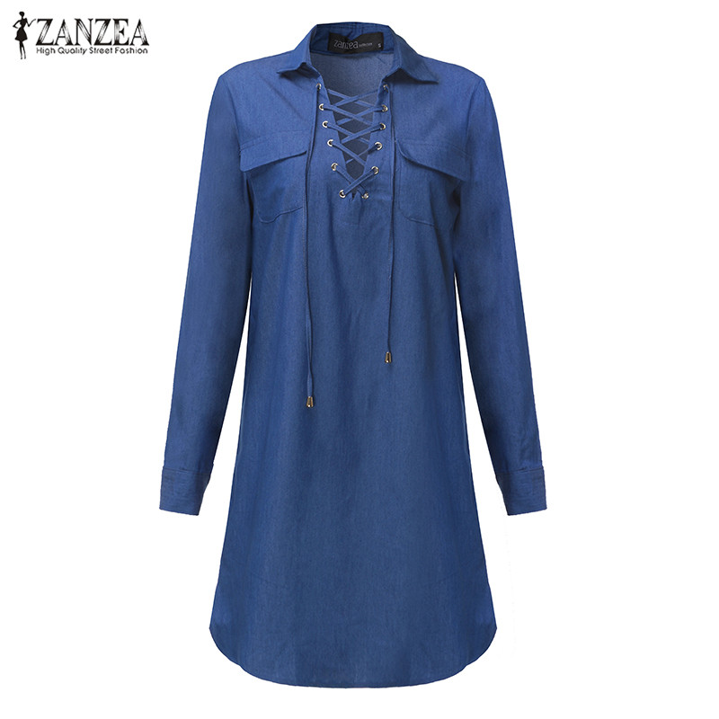 ZANZEA 2017 New Women Long Sleeve Turn Down Collar Bandage Denim Dresses Sexy Ladies Hollow Out