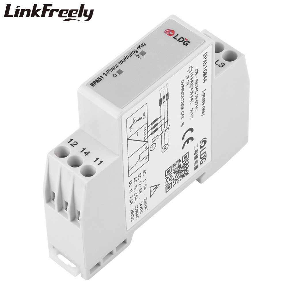 DPA51CM44 3 Phase Sequence Protection Relay Module & Board 5A 24V DC 250VAC Phase Failure Monitoring SPDT Voltage Relay Din RailDPA51CM44 3 Phase Sequence Protection Relay Module & Board 5A 24V DC 250VAC Phase Failure Monitoring SPDT Voltage Relay Din Rail