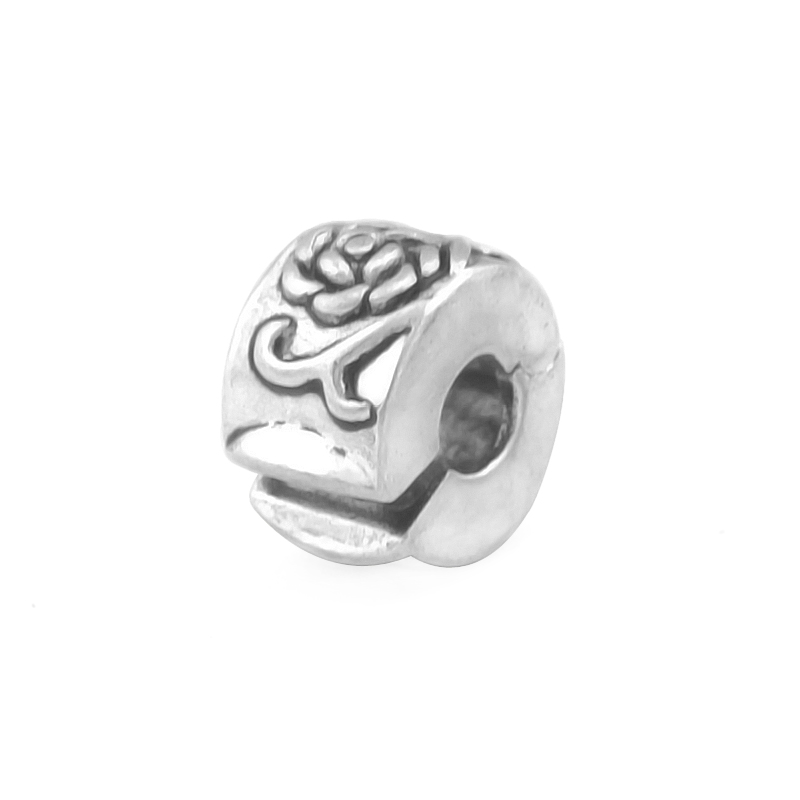 KINGS FAITH Silver Color Fashion Flower Safety Stopper Charms Bead Fit pandora Charm Bracelet DIY Jewelry Making,SPB044