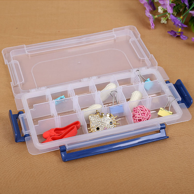 18 cells Compartment Plastic Adjustable Boxes Craft Case Jewelry