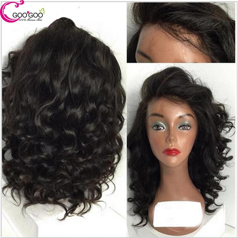 Fasion Short Human Hair Wig Water Wave 8a Brazilian Full Lace Wig