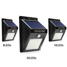LED Solar Light Waterproof Solar Lamp PIR Motion Sensor Solar Powered Panel Night Light 8 16 20 LED Wall Lamp For Outdoor Garden