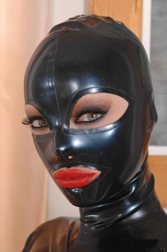Sexy Black Full Face Natural Latex Hood Open Eye Mouth For -5489