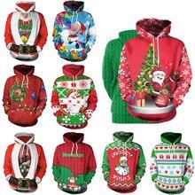 European style women/men loose hooded sweatshirts Christmas print hoodies Chic women cartoon pullovers tops D546