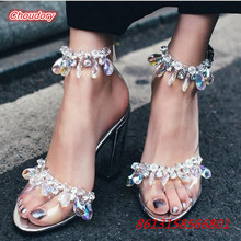 Colorful Bling Crystal Women Sandals Sexy Peep Toe High Heels Shoes Women Transparent Plastic Square Heels Female Party Sandals