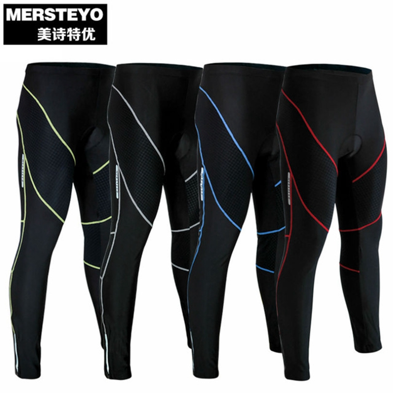 MERSTEYO Pro Team Ropa Ciclismo MTB Ciclismo Cycling Bicycle Riding Trousers Long Men Padded Bike Tights Pants S-XXXL