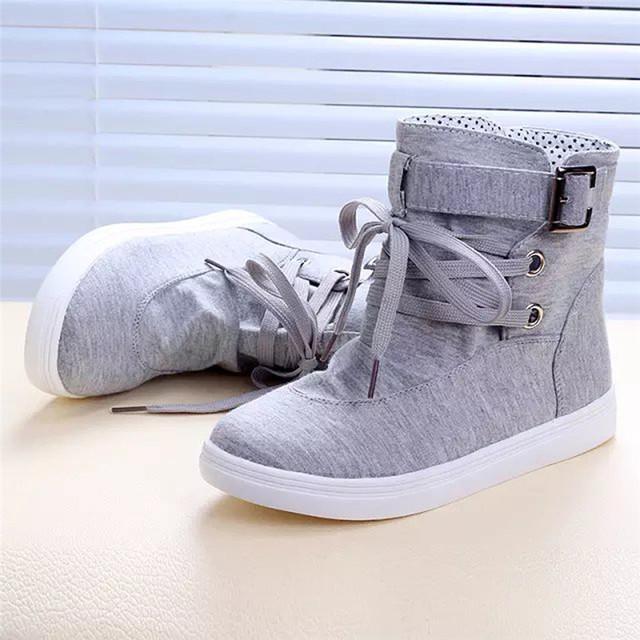 Botines de las mujeres Primavera Otoño Planos Ocasionales Con Hebilla Con Cordones Diseño Sólido Lindo Lona de La Manera Cargadores de Martin zapatos