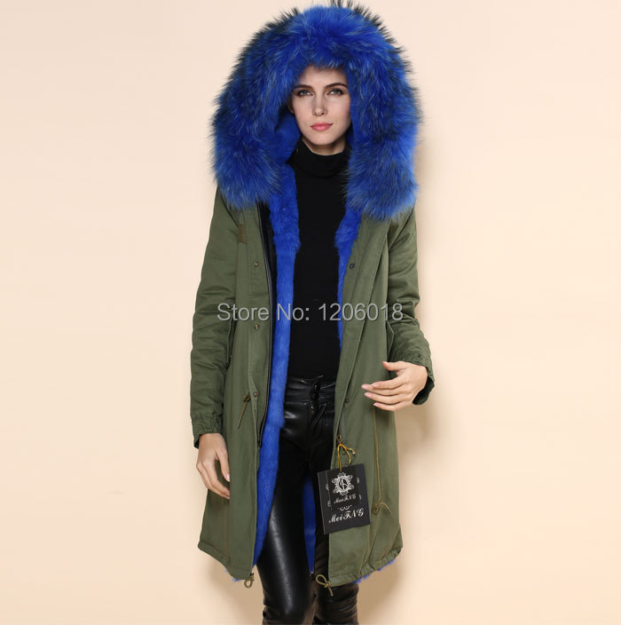 Aliexpress.com : Buy High quality women lake blue fur parka coat ...