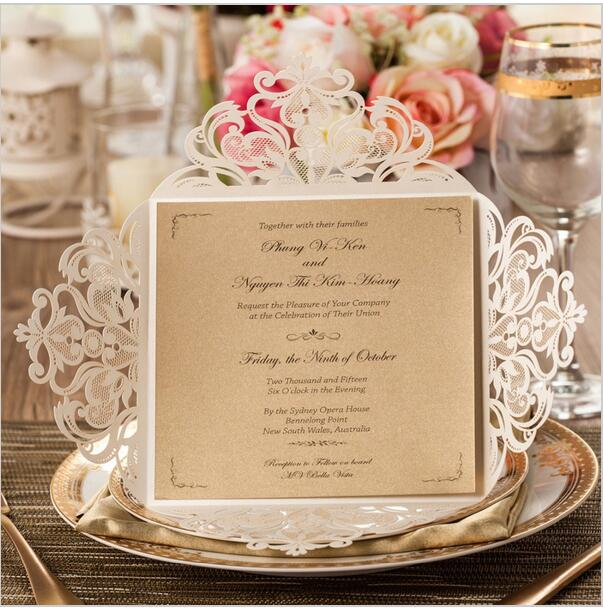 white gold black laser cut rose flora wedding invitations card elegant lace anniversary party supplies wedding cards u0026 invitations from