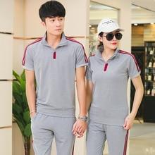 Summer Men Sportswear Women Tracksuit Short Sleeve T-shirt Sweatshirt+pant Lover Running Jogger Exercise Casual Outfit Sport Set цены