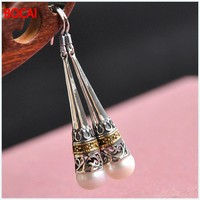 Silver Filigree Mohist traditional manual hollow pearls 925 Sterling Silver Earrings long