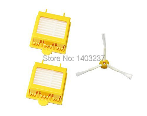 2 pcs HEPA Filters + 1 pcs 3-Armed Side Brush for iRobot Roomba 700 Series 760 770 780 790 Vacuum Cleaning Robotic Spare Parts free post new filters yellow hepa filter and side 3 armed brush for irobot roomba 700 series 760 770 780 790 cleaner tools set