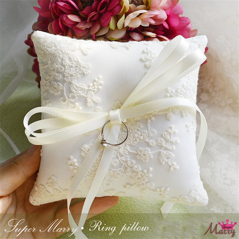 1pcs lot Beautiful white Square Ring pillow lace bow for wedding decoration proposal supply 9cmx9cm
