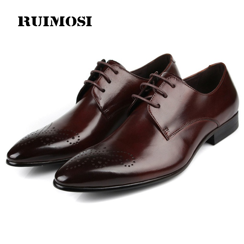 RUIMOSI New Luxury Brand Man Formal Dress Wedding Shoes Genuine Leather Male Oxfords Breathable Men's Derby Bridal Flats HD75
