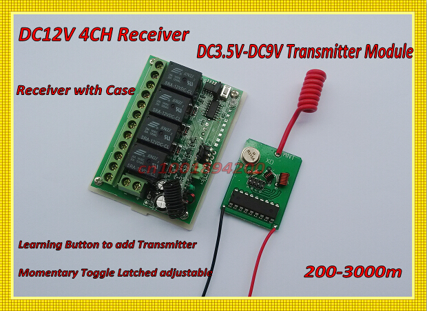 RF Remote Control Switches DC12V 4CH Relay Receiver Transmitter PCB Power ON Transmitting 315/433 LED Lamp Light  Power Remote remote control switches dc 12v 2ch receiver long range remote control transmitter 50 1000m 315 433 rx tx 2ch relay learning code