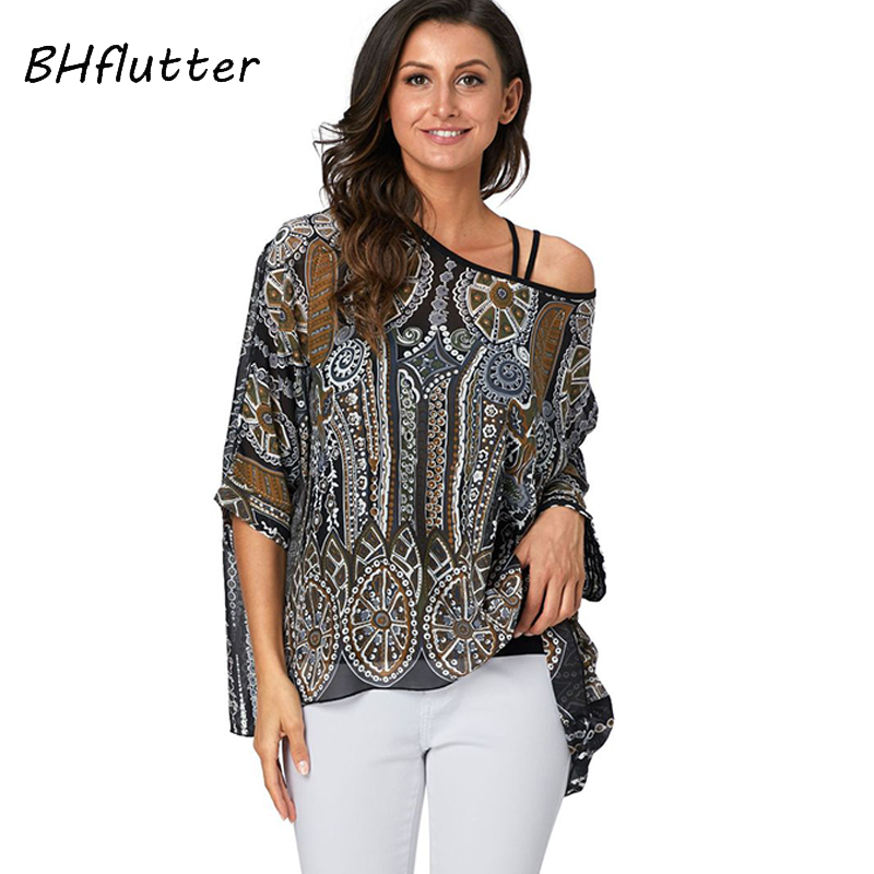 BHflutter Chic Snake Print   Blouse   Women Fashion Sexy Off Shoulder Summer Tops Batwing Casual Chiffon   Blouses     Shirts   Blusas Mujer
