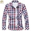 MIUK Большой Размер Плед Хлопок Camiseta Masculina 5XL 6XL Тонкий Fit Brand Clothing Men Shirt 2 Цвет Длинный Рукав Сорочка Homme 2017