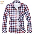MIUK Large Size Plaid Cotton Camiseta Masculina 6XL 5XL Slim Fit Brand Clothing Men Shirt 2Color Long Sleeve Chemise Homme 2017