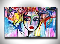 Home Decor Wall Art Girl Picture Graffiti Figure Acrylic Paintings Hand Painted Abstract Colorful Woman Oil