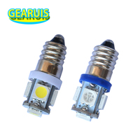 100 Uds Super brillante E10 no polar 5 SMD 5050 3 Chips LED Bombilla de tornillo lámpara E10 luces led instrumento E10 luces led 12V