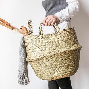 Image 3 - Cesta de mimbre plegable para colgar, maceta de mimbre hecha a mano para plantas, maceta moderna decorativa para el hogar