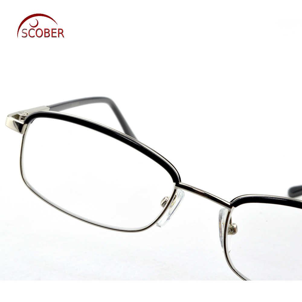 = SCOBER = موضة الحواجب التيتانيوم سبائك نظارات للقراءة الرجال النساء مكافحة التعب العدسات الزجاجية + 0.75 + 1 + 1.25 + 1.75 + 1.5 إلى + 4