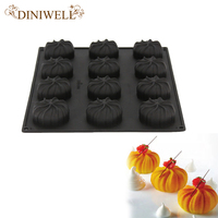 12 Cavity Silicone Black Cake Molds Steamed Dumplings Cyclone Shaped Baking Mousse Western 3D Dessert Decorating
